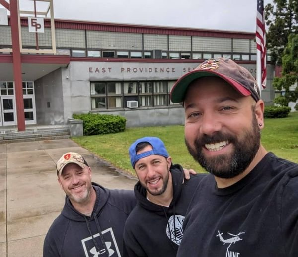 L-R John Tohler, Rob DiSalvo and Mike Lowell, Class of 1998 visiting EPHS