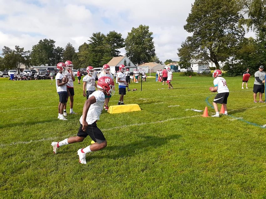 Townie football team practicing in August