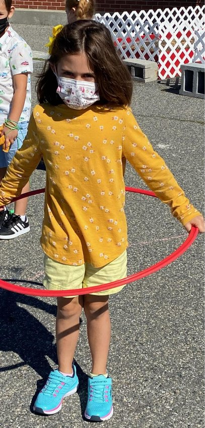 Isla is sporting her yellow, the color of friendship.