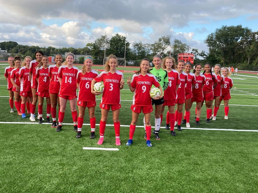 The EPHS girls soccer team was the first to compete at the new EPHS campus stadium. The first point scored was a goal by Jordyn Brogan. Townie girl power.