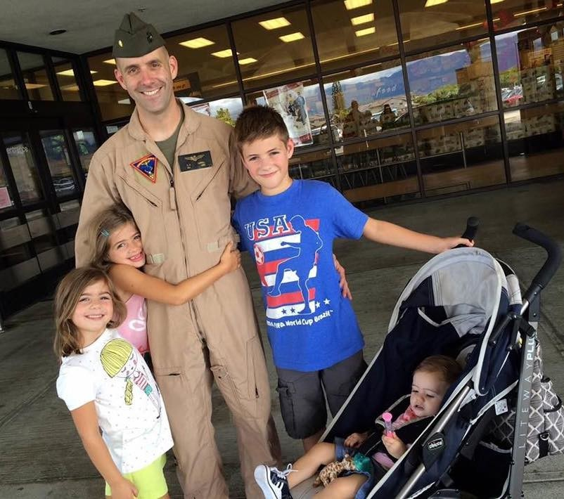 U.S. Marine Corps Maj. Shawn Campbell greets his children after an aviation mission. The Marine, who grew up in Houston and met wife Kelli at Texas A&M University, died in 2016 during a night training mission in Hawaii.