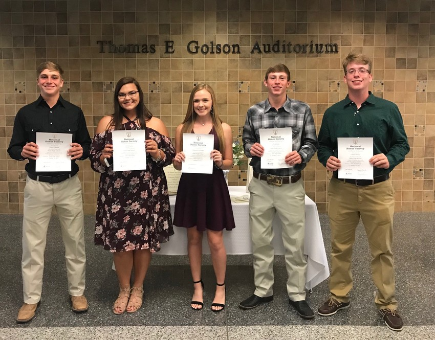 Pictured from left are NHS inductees Garret Zaskoda, Hannah Pekar, Makenzie Menke, Clay Roberts and Chaplin Moore.