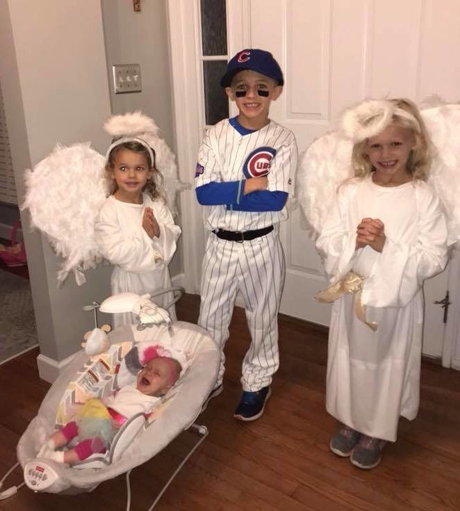 The Barone children suited up as Angels in the Outfield for Halloween 2017.
