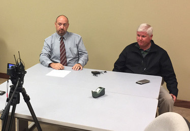 Sealy Police Sgt. James Long, left, and Detective Jason Manies addressed the suicide on I-10 on Monday in what they said was one of the most bizarre investigations they've been a part of.