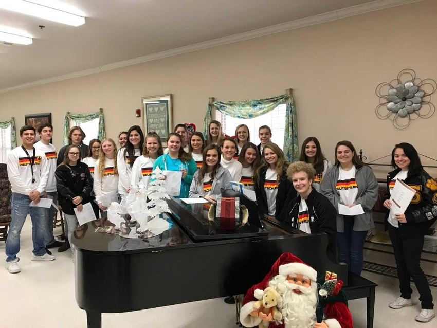 Sealy High School students performed recently for residents of Colonial Belle nursing home.