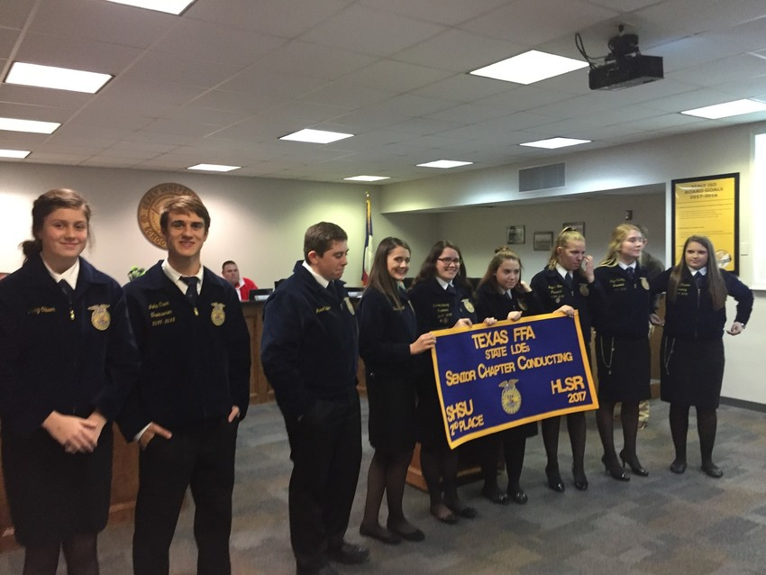 The Sealy FFA Club Senior Chapter Conducting Team was honored during the Sealy ISD schoolboard meeting on Dec. 20 for placing second in the state competition.