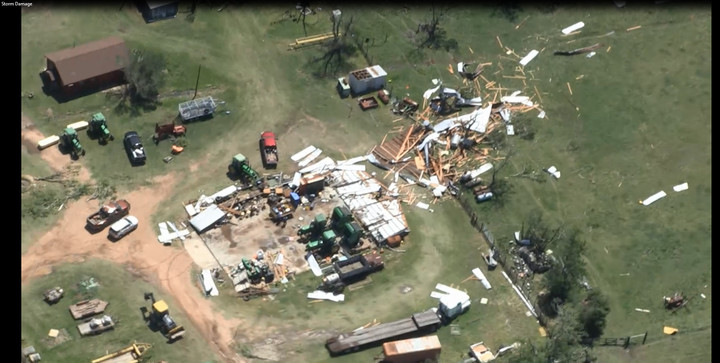 Several Austin County residents reported damage from the microburst storm on May 23. County Sheriff Jack Brandes showed an aerial video of the property destruction during a commissioners' court meeting Monday.