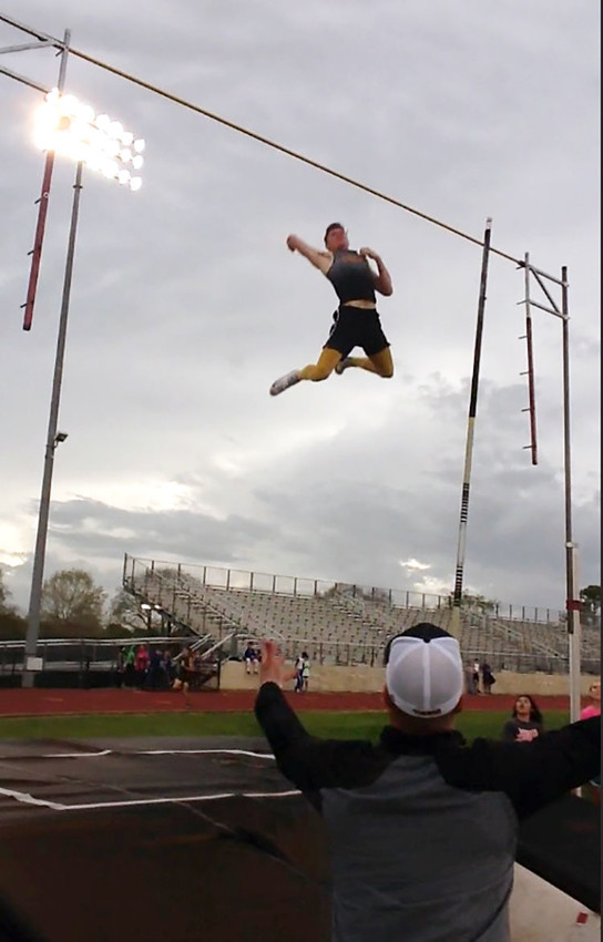 Sealy High School senior Clayton Fritsch cleared a new pole vault personalrecord with 16-foot-3 during last week's track meet in Columbus. The pole vault is also a new school record.