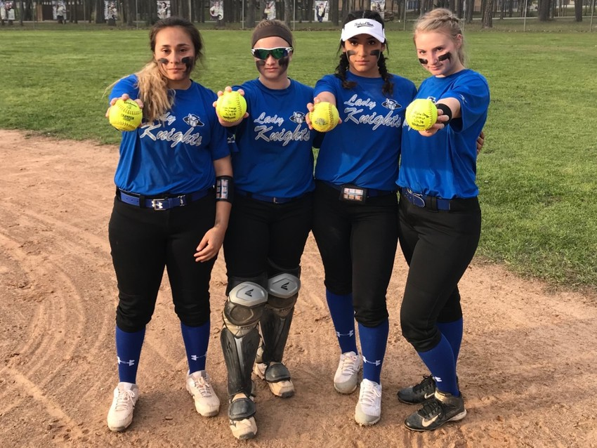 From left to right: senior Destiny Interiano and juniors Megan Majewski, Maddy Gonzales and Lacy Phillips all hit home runs in their game against Alpha Omega.