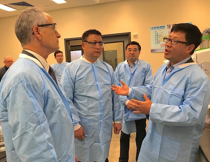 Members of the management team of Stanley Agricultural Group from China recently visited the Office of Texas State Chemist laboratory in College Station to explore collaboration opportunities. (Left) Dr. Tim Herrman, state chemist, Jinhua Gao, president of Stanley Agricultural Group, Jianhua Wang and Ken Wang, manager of Stanley Agricultural Group.
