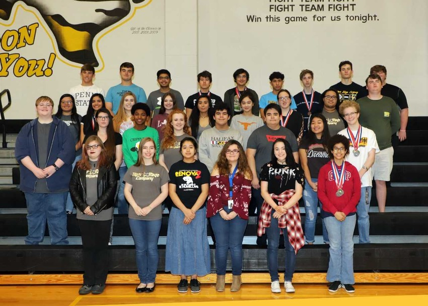 The Sealy High School UIL academic team earned 18 individual medals and had three teams place in the top three. Twelve students are advancing to the regional meet that will be held in April. Pictured in back row are Hunter Clark, Brendon Beckendorff, Khondker Salim, William Mock, Aaron Sanchez, Jesus Barroso, Kenneth Cryan, Kyle Ussery and Will Cleveland. In the second row are Emily Alvarez, Pamela Cerda, Maddie Goad, Paige Moyle, Ariel Uribe, Macey Samonte, Patricia, Ashorn, Marcel Tumer and Garrett Chaney. In the third row are Caleb Hamilton, Tiffany Krause, RJ Wigfall, Grace Johnson, David Moina, Alejandro Guillen Gonzalez, Berenice Villegas and Matthias Litzmann. In the front row are Faith Morgan, Alissa Ashcraft, Melanie Flores, Daniella Blaschke, Maya Light and Alexia Henley.