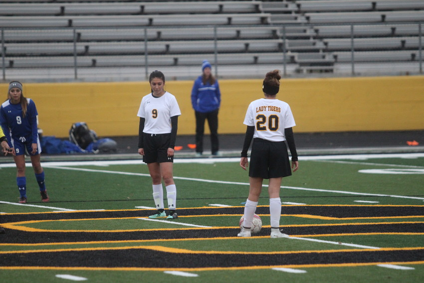 Christina Medrano (No. 9) is one of eight seniors who saw their Sealy career came to an end last week as the Sealy Lady Tigers lost their playoff opener against Columbia on the road 4-1.
