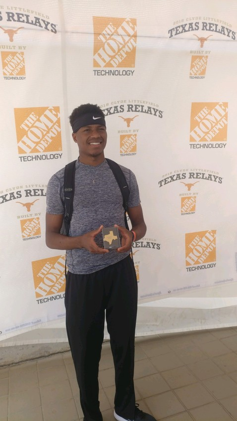Senior Tyrek McNeese broke a school record and placed first at the Texas Relays in Austin last weekend in the triple jump with a distance of 49 feet 9 inches. It was the second school record he's broken this season.