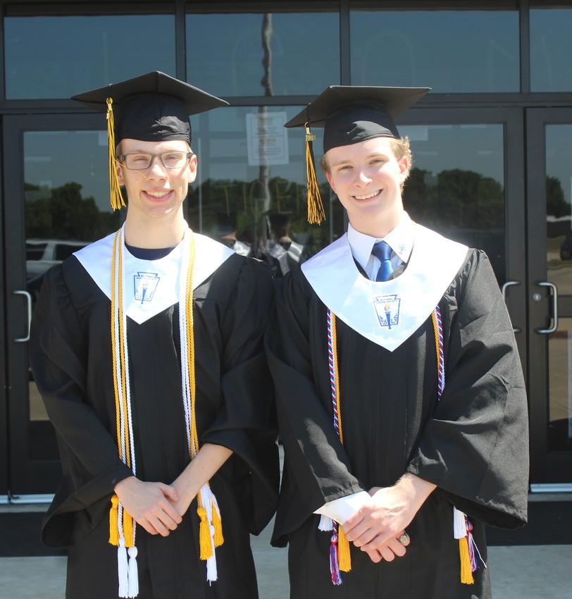 Senior Jacob Delozier, left, is the 2018 valedictorian while classmate Matthias Litzmann is the salutatorian.