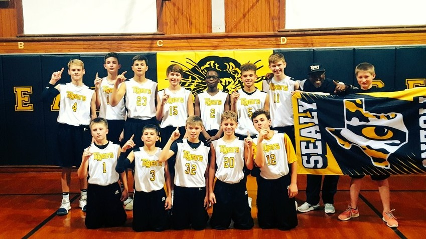 The seventh-grade boys' basketball team finished their season with a perfect 14-0 season last winter in one of the best stories from the 2017-2018 season.