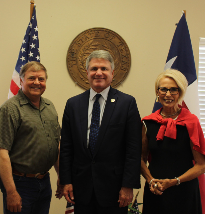Austin County Commissioner Bobby Rinn, Congressman Michael McCaul and Industry Mayor Mable Meyers met last week at Industry City Hall.