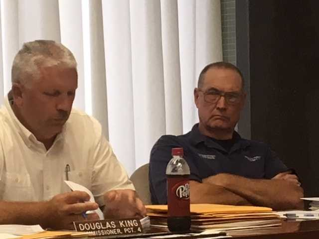 Austin County commissioners Doug King and Randy Reichardt discuss the possibility of a bond issue to pay for a new justice center.