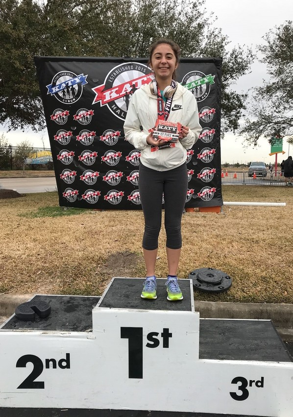 Gallaher took first in the 5K division of the Katy Half Marathon at Katy Mills Mall