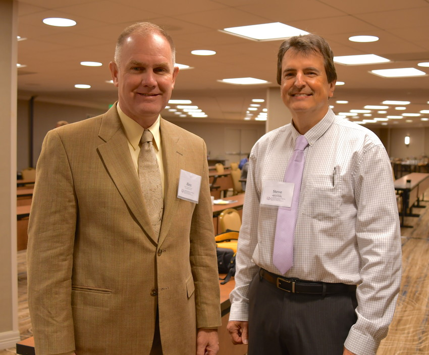 Dr. Alex Thomasson, left, Texas A&M AgriLife Research engineering and conference coordinator, is pictured with Dr. Steven Thomson, U.S. Department of Agriculture-National Program Leader-Ag and Biosystems Engineering, Institute of Food Production and Sustainability.