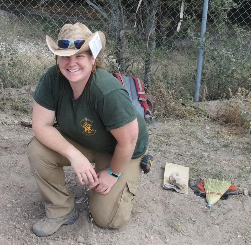 Pictured is Dr. Sarah Chesney, San Felipe de Austin staff archaeologist.