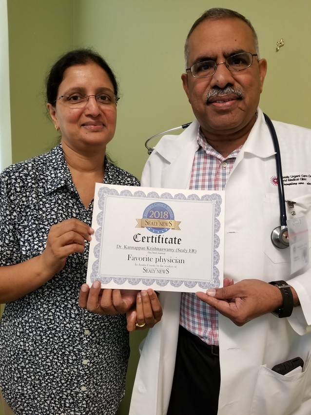Jothi Krishnaswamy and Dr. Kannappan Krishnaswamy were recognized earlier this year as Sealy News Readers' Choice winners.