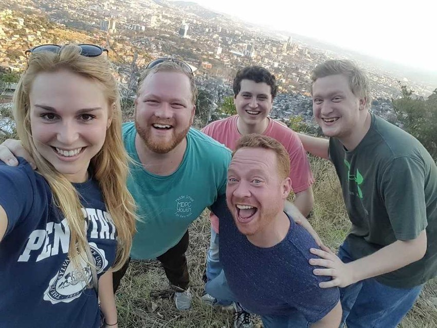 Pictured from left are Amelia Batcha, Trevor Harris, Jeff Peña, Kit Mixon and Walker Harris, who represented a Houston church during a mission trip to Honduras earlier this year.