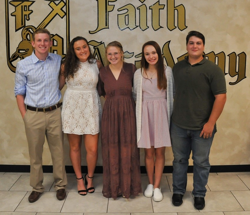 Faith Academy's National Honor Society officers for 2018-2019 are Pierce Newcomb, treasurer; Marissa Przyborski, secretary; Lacy Phillips, president; Regan Woodley, vice-president and Jeff Perry, chaplain.