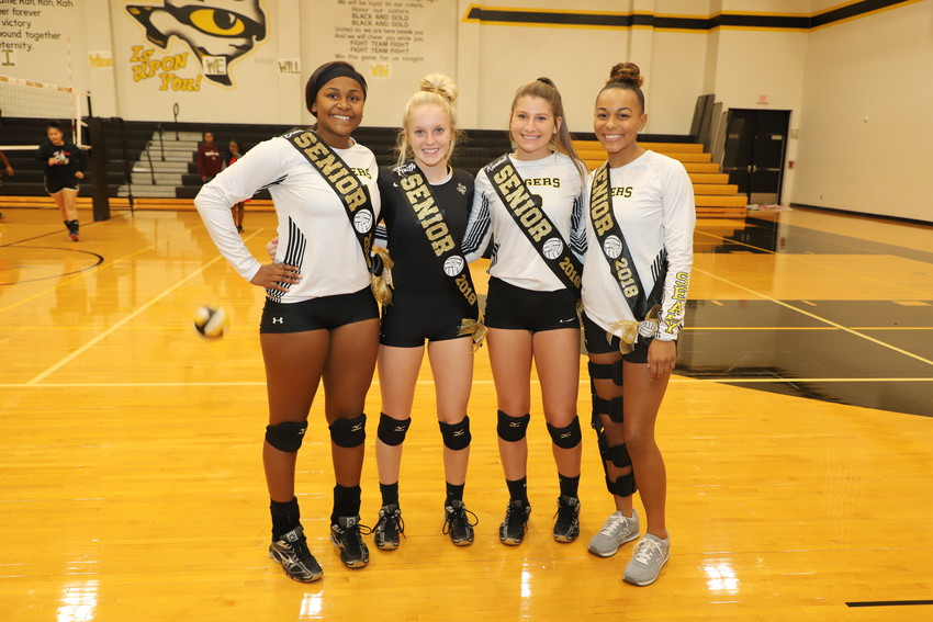 Diari Dabney, Faith Haugen, Kendall Dornak and Makaylah Scott were all honored with a pregame ceremony in their final regular-season action at Sealy High School.