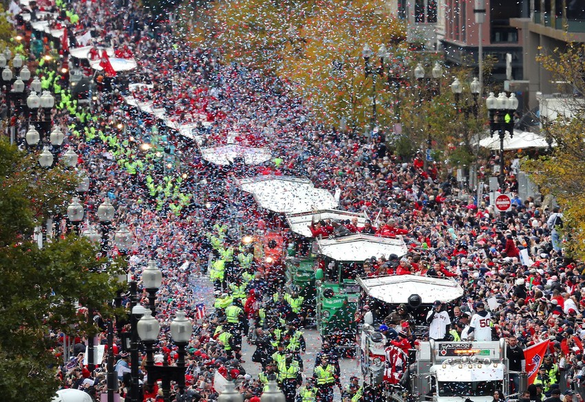 Confetti rained down all Halloween morning over the city of Boston.