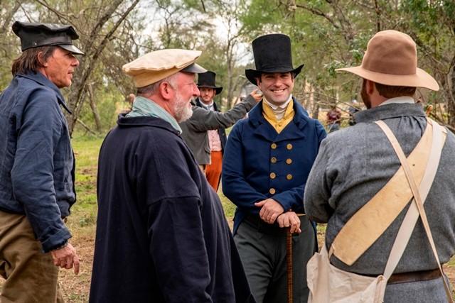 Stephen F. Austin greets militia members.