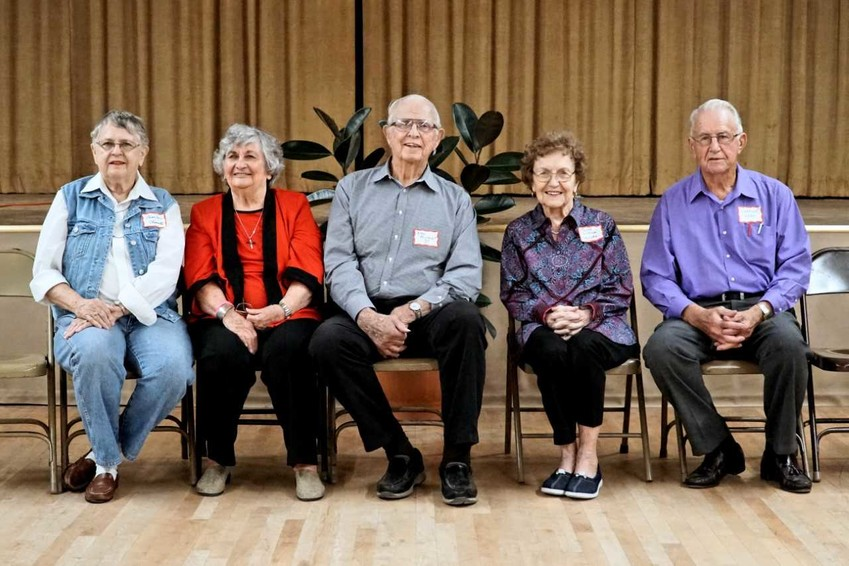Pictured from left are Class of 1950 members Loyce Ann Goebel Clements, Esther Skrivanek Breeden, Otto Reichardt, Margie Surovcak Hlavinka and Charles Abel.