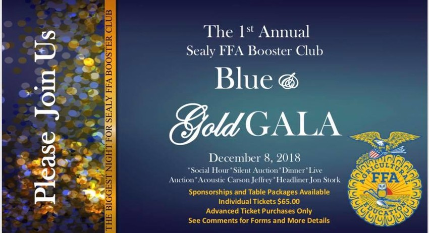 The FFA Blue and Gold Gala is set for 6 p.m. Saturday at Cat Spring Hall.