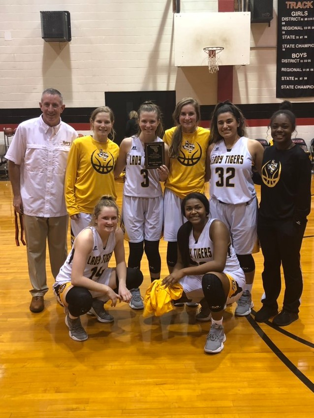 The Lady Tigers didn't have to travel far but were rewarded with a plaque for their runner-up finish in the tournament.