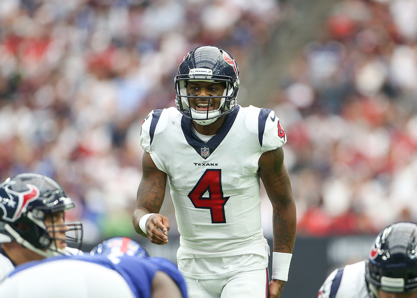 Houston Texans quarterback Deshaun Watson (4) eclipsed 4,000 yards through the air and 500 yards on the ground this season, becoming just the third quarterback to do so. He is pictured above in the second half of an NFL football game between the Houston Texans and the New York Giants on Sunday, Sept. 23, 2018 in Houston, Texas. The Giants won 27-22.