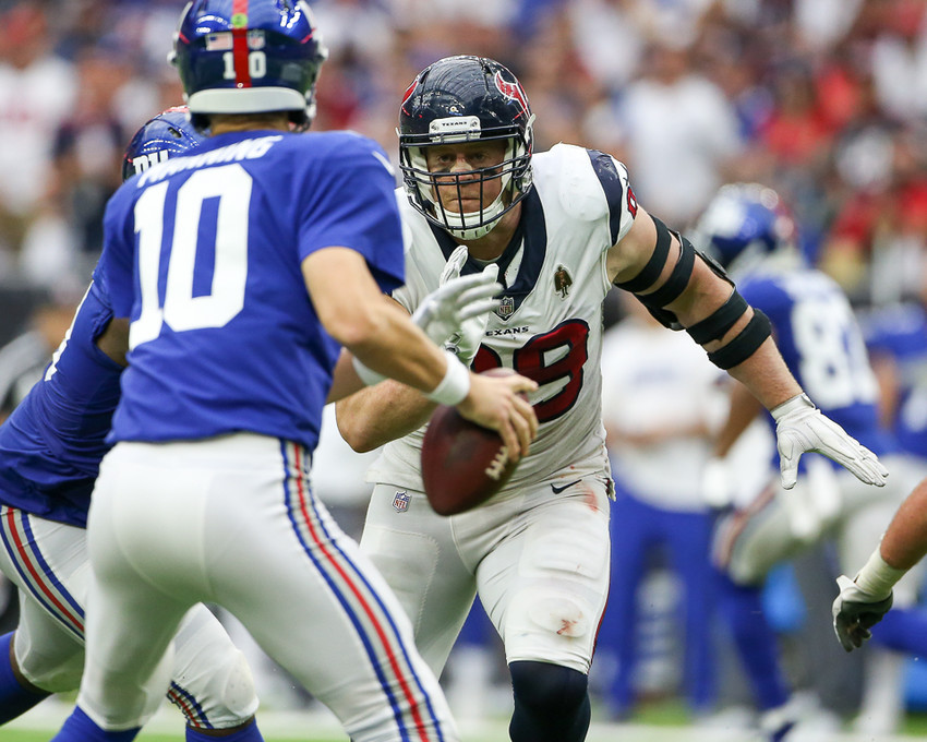 J.J. Watt led the AFC with 16 sacks and piled up three of them when Eli Manning and the Giants paid a visit to NRG Stadium in week three.