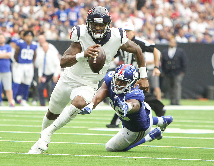 Deshaun Watson (4) wasn't as effective a dual-threat as he's shown before but he still ended the game leading his team in rushing yards with 76 yards on eight carries but that would not be enough to take down the visiting Colts.