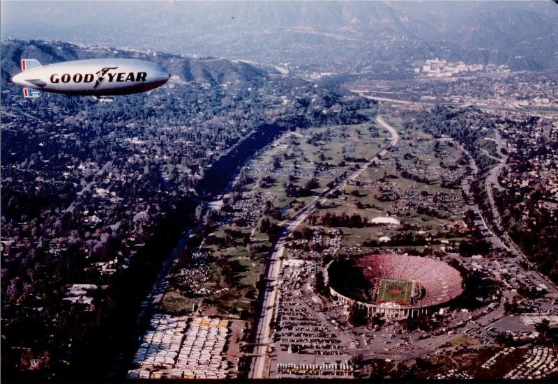 The Goodyear Blimp has seen its fair share of football games (over 2,000) as well as its fair share of upgrades since this picture was taken at the 1976 Rose Bowl in Pasadena, Calif.