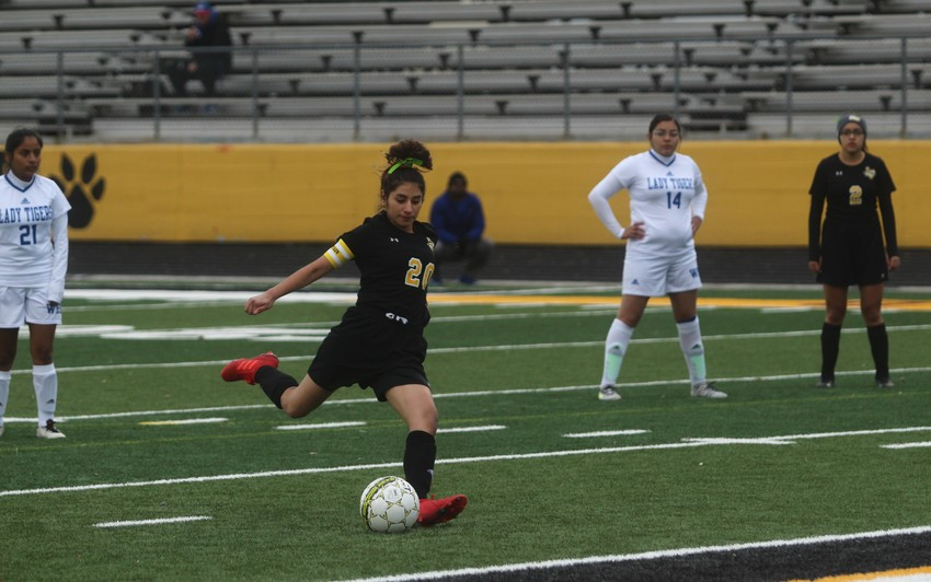 Senior Jess Vital (20) was given a pair of free-kick opportunities in the first half converted the second one with only a few minutes remaining to secure her first hat trick of the year.