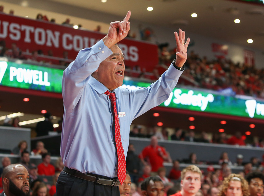 Six hundred. Houston head coach Kelvin Sampson flashes the number six on his hands during an NCAA men's basketball game between the University of Houston and the University of Oregon on Saturday, Dec. 1, 2018 in Houston, TX where Houston won, 65-61. Now, Sampson is a member of the 600-win club, becoming only the second coach to do so with ties to Houston.