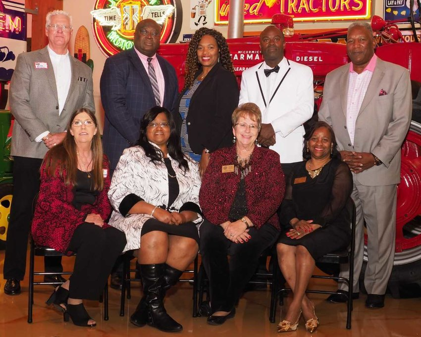 Pictured in back from left are Brookshire EDC Coordinator Mike Barnes, special speaker attorney Art Pertile, BEDC vice president Sandra Olison, BEDC treasurer Lyndon Stamps and BEDC secretary Nathaniel Richardson. In front from left are Brookshire City Council Alderwoman Kim Branch, Brookshire City Secretary Claudia Harrison, BEDC administrative assistant Vickie Casto and BEDC president Marilyn Vaughn.