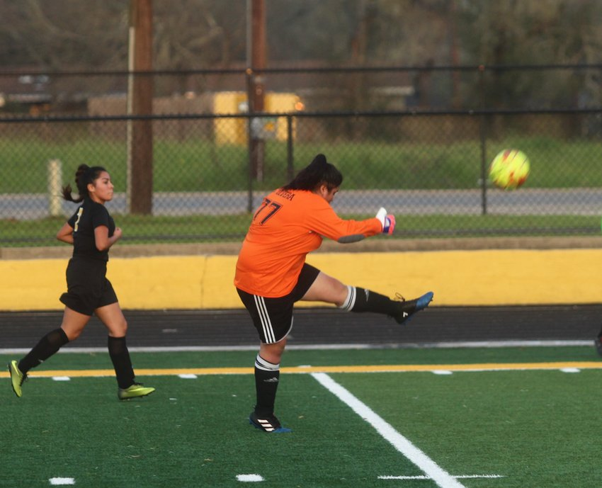 Goalkeeper Sofia Olvera (77) had a busy Friday night, being called upon all night to stop shots and clear the ball to transition into offense.