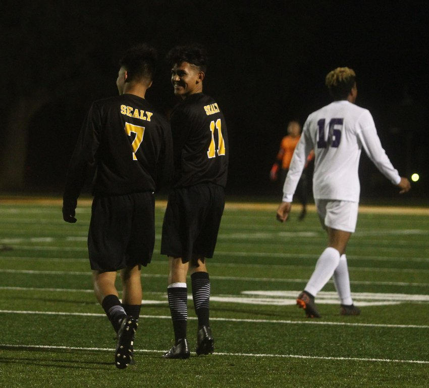 Erick Balderas (7) was a big offensive factor all night long, finding the back of the net a trio of times, making half of Sealy's goals. Alex Avila (11) couldn't help but smile along as he watched the sophomore do what he does best.