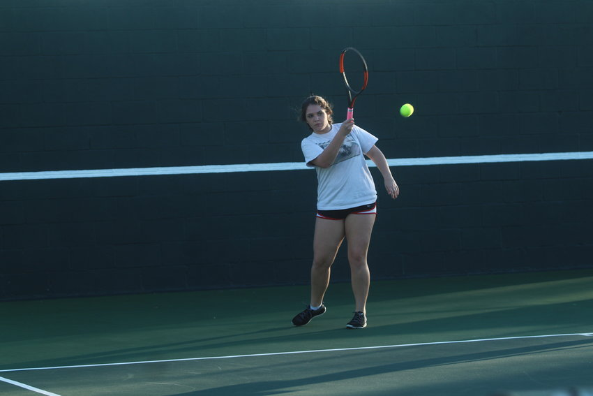 Kylie Patrick (pictured) and Macey Feland made it all the way to the consolation finals in the Magnolia West Tournament last week.