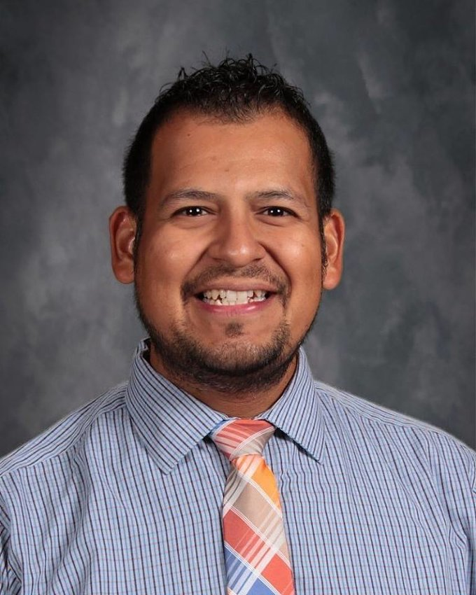 Adrian Rocha was named teacher of the month for his contributions in February and the rest of the year.