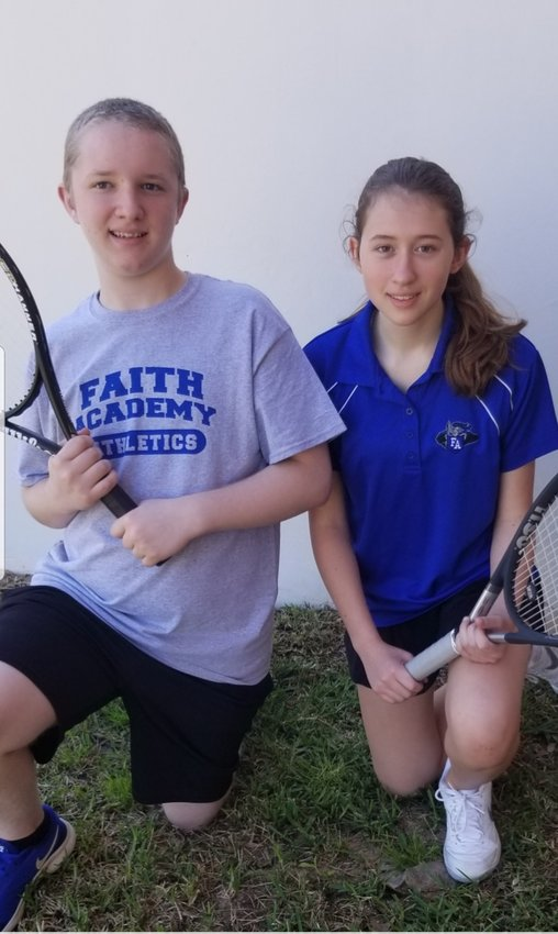 Sophomore David McClure (left) and freshman Genesis Mignery have been putting the work in on the tennis courts and are on the right track to piling up wins for Faith Academy.