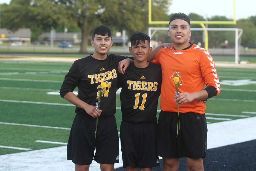 Tiger seniors (from left) Leonardo Garcia, Alex Avila and David Gomez ended their final regular season with three straight wins which helped clinch another playoff berth and a rematch with the Brazosport Exporters.