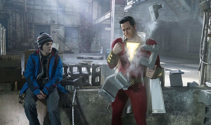 Jack Dylan Grazer and Zachary Levi in 'Shazam!'
