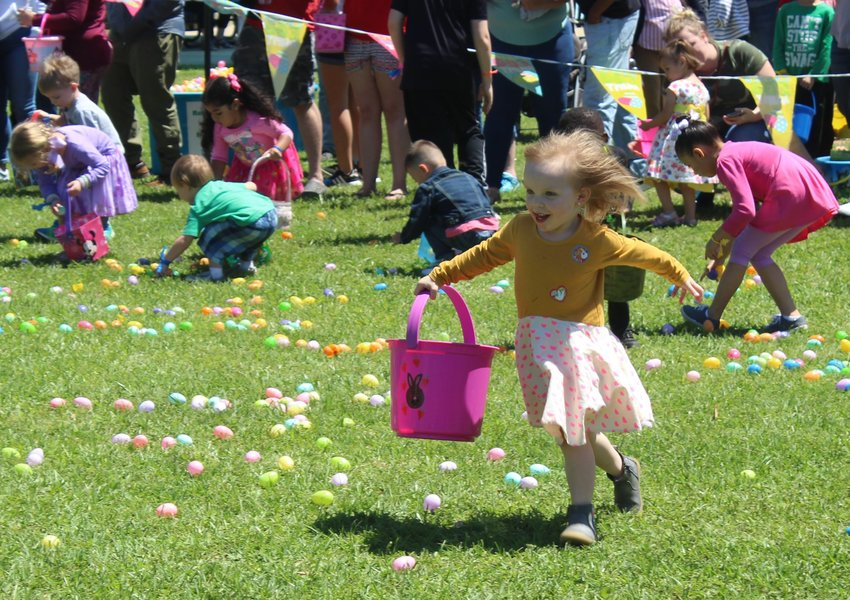 The hunt was on Sunday at the annual Easter Eggstravaganza at Levine Park. Children were split into three age groups and were given a square of land to find all the eggs they could fit with different surprises in each.