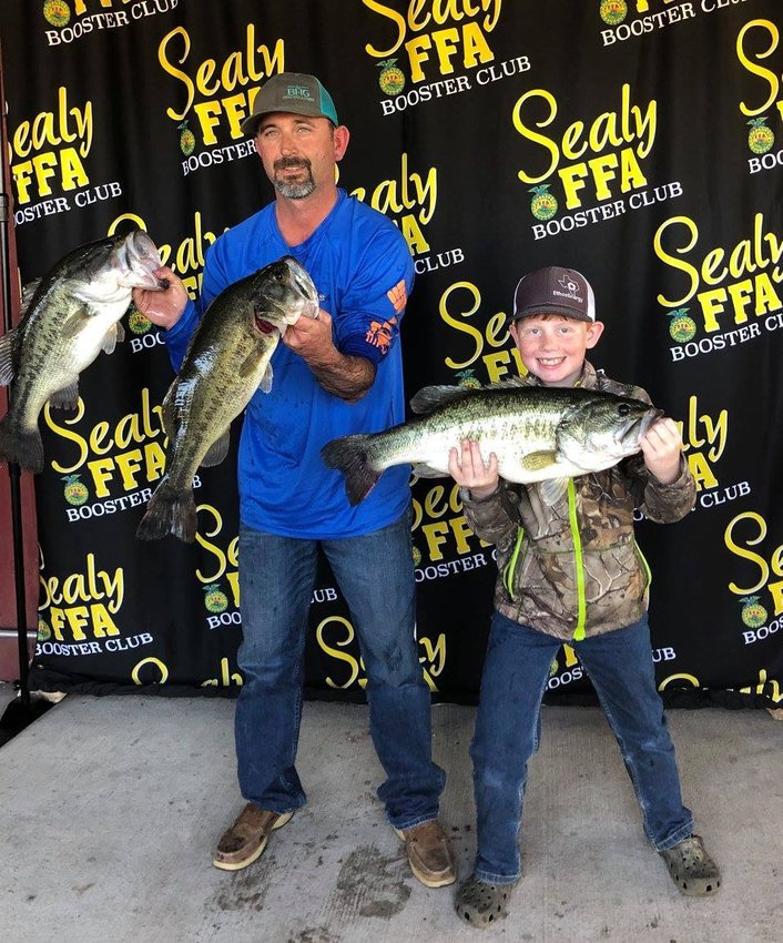 The Garbs pulled an 8.13-pound bass and 19 pounds of stringers to take first place at the inaugural Blue and Gold Fishing Tournament last Sunday at Creekmore's in Sealy.