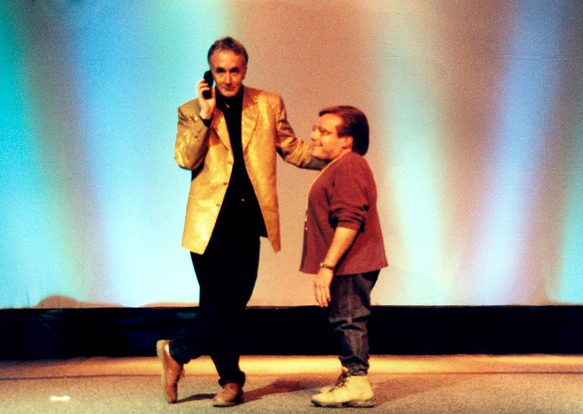 Anthony Daniels with Dan Madsen on the main stage at the first Star Wars Celebration, held 20 years ago in Denver.